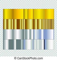 set, goud, vrijstaand, achtergrond., gradients, zilver