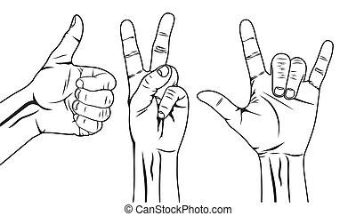 set, hand, symbool