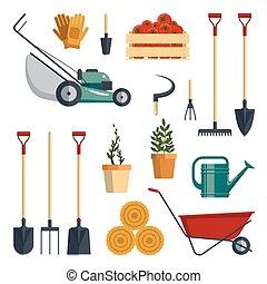 set, hark, lawnmower, instrumenten, watering, hooivork, planten, gereedschap, vrijstaand, achtergrond., kruiwagen, witte , landbouw, tuin, boerderij, equipment., flat-vector, pictogram, schop, illustration., verzameling, handschoenen