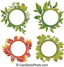 set, -, herfst, vector, vellen, lijstjes