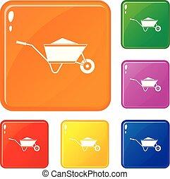 set, iconen, kleur, zand, vector, kruiwagen