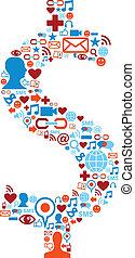 set, iconen, media, symbool, dollar, sociaal