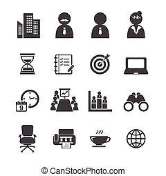 set, kantoor, pictogram