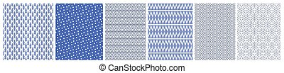 set, kerstmis, backgrounds., blauwe , pattern., illustratie, vector