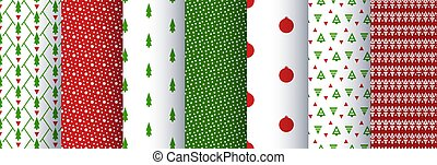 set, kerstmis, backgrounds., seamless, pattern., meetkunde, illustratie, vector