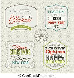 set, kerstmis kaardt, ouderwetse