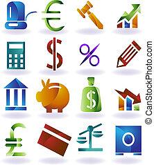 set, kleur, pictogram, bankwezen