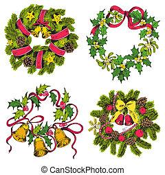 set, krans, -, vector, ontwerp, plakboek, kerstmis