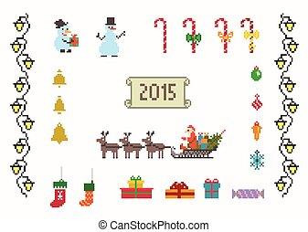 set, kunst, kerstmis, jaar, nieuw, pixel