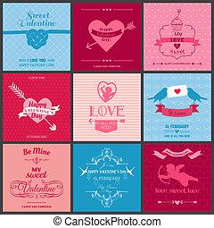set, liefde, valentine, -, dag, vector, trouwfeest, uitnodigingskaarten