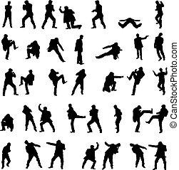 set., mannen, -, vecht, silhouettes, vector