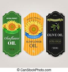 set, oliën, grijze , achtergrond, etiketten, zonnebloemen, groot, vrijstaand, olive