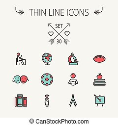 set., opleiding, lijn, pictogram, mager