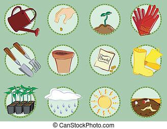 set, pictogram, tuinieren