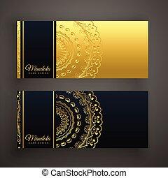 set, premie, goud, black , mandala, spandoek, kaart