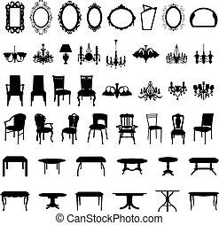 set, silhouette, meubel