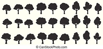 set, silhouette, vrijstaand, bomen, achtergrond, witte