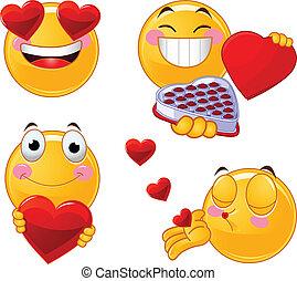 set, smileys, valentines, emoticon