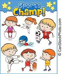 set, sporten, anders, kinderen spelende