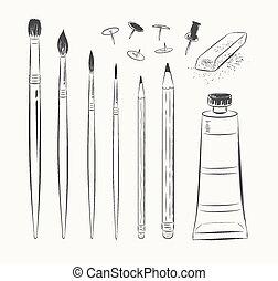 set, tools., kunst, vector