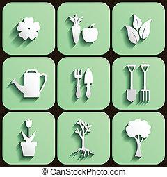 set, tuin, natuur, pictogram