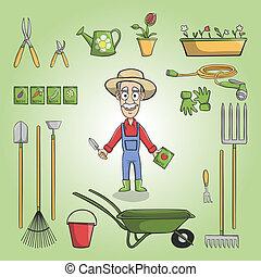 set, tuinman, charactor, vrolijke