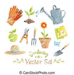 set., uitrustingen tuinierend, vector
