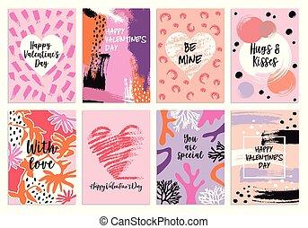 set, valentine's dag, s, vector, voorbeelden, kaart