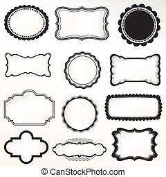 set, vector, frame, ouderwetse , decoratief