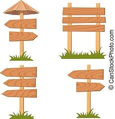 set, vector, houten, tekens & borden