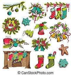 set, -, vector, ontwerp, plakboek, kerstmis, communie
