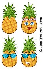 set, verzameling, leafs., fruit, groene, ananas