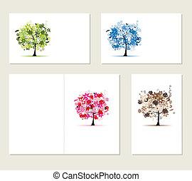 set, zakelijk, bomen, kaarten, ontwerp, floral, jouw