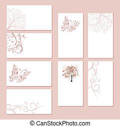 set, zakelijk, ornament, kaarten, ontwerp, floral, jouw