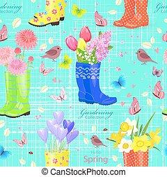 shoes., lente, seamless, textuur, rubber, bloemen