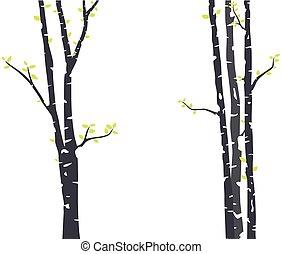silhouette, boompje, berk, behang, sticker, hertje, vogels, achtergrond