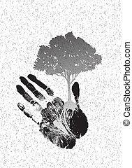 silhouette, boompje, handprint, black