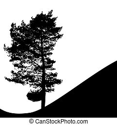 silhouette, boompje, vrijstaand, illustratie, witte , backgorund., vecrtor