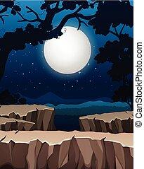 silhouette, bos, achtergrond, nacht