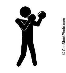 silhouette, boxing, beoefenen, man