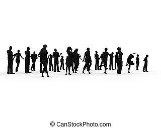 silhouette, groep, mensen