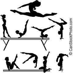 silhouette, gymnast, balk, turnoefening, vrouwlijk, oefeningen, evenwicht