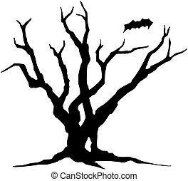 silhouette., halloween., boompje