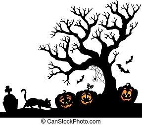 silhouette, halloween, boompje