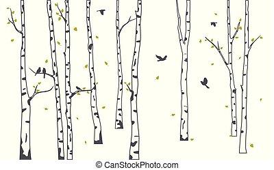 silhouette, hertje, boompje, achtergrond, berk, vogels