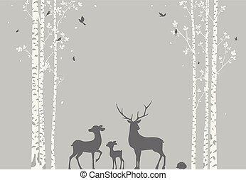 silhouette, hertje, sticker, behang, boompje, achtergrond, berk, vogels
