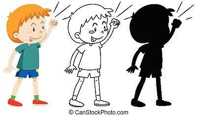 silhouette, jongen, pose, schets, vecht, kleur