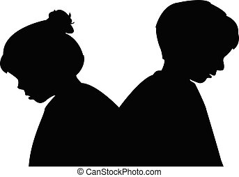 silhouette, kinderen, hoofden, vector