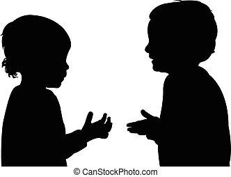silhouette, kinderen, klesten
