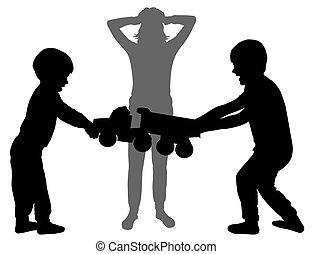 silhouette, kinderen, tantrums., toy., vector, vasthouden, mamma, situation., haar, krijs, leven, luistert, vrouw, op, head., vechten
